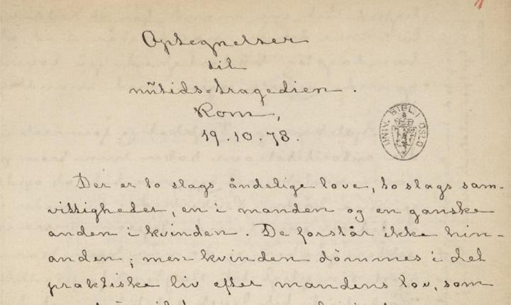Bilde av Ibsenmanuskript