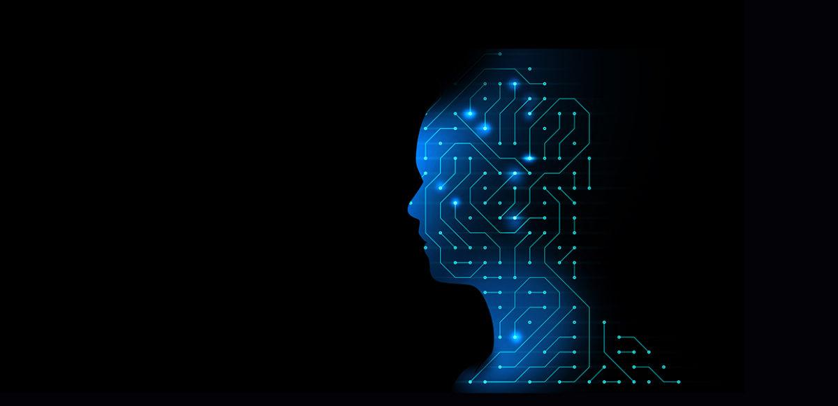 Illustrasjon av hode laget av teknologi