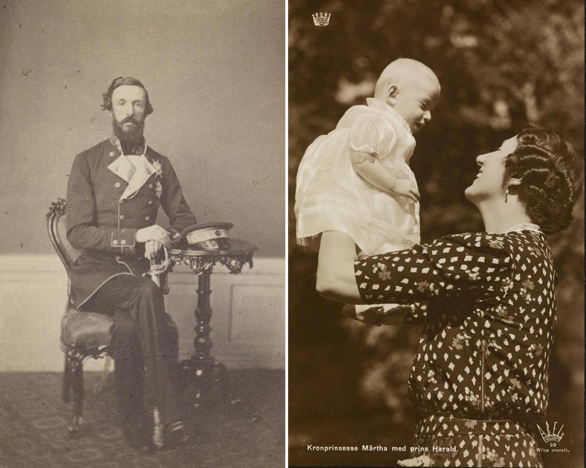 Venstre: Mann stirrer i kameraet. Sittende på stol. hatt på bord. Uniform. Høyre: Kvinne holder baby i blondekjole over hodet, fra siden. Smiler.