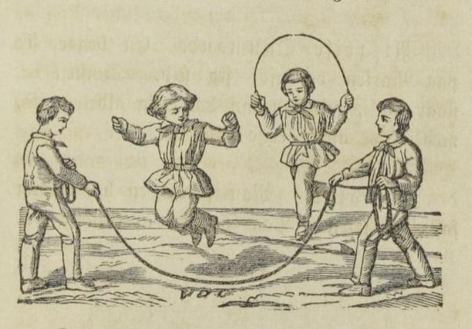 Illustrasjon. Fire barn med hoppetau.