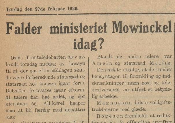 """Avisutklipp, """"Falder ministeriet Mowinckel idag?"""""""