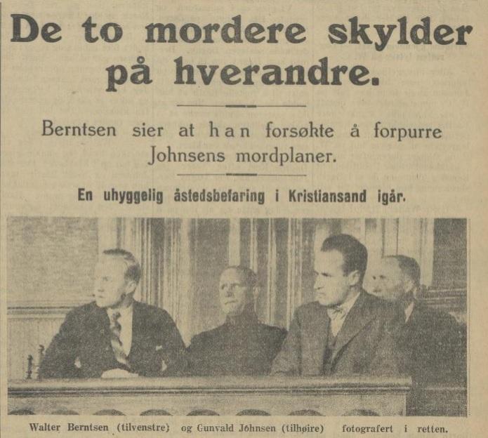 """Avisutklipp med tittelen """"De to mordere skylder på hverandre"""" og bilde av Berntsen og Johnsen i rettssalen."""