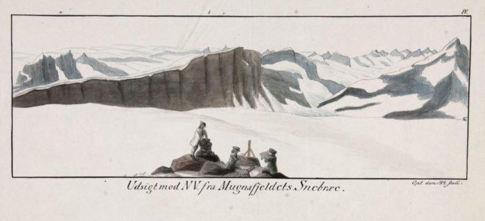 Tegning, fjell, tre menn ved en rasteplass. Påskrift på tegningen: Udsigt mod NV. fra Mugnafjeldets Snebræe.