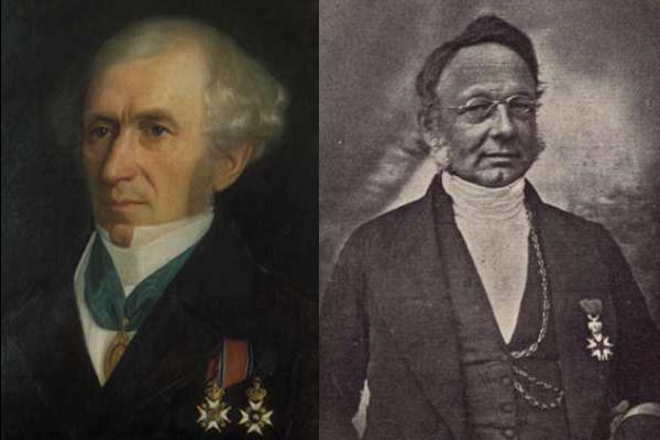 To portretter av eldre menn, halvfigur. Begge har kinnskjegg og medaljer.