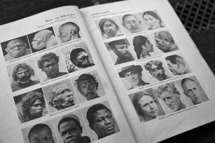 Dobbeltside i bok, bilder av rasetyper, 8 forskjellige typer med portrettfotografier