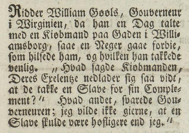 Avisutklipp, gotisk skrift, slavehistorie