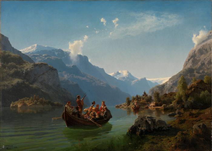 Brudeferd i Hardanger, båt på fjord med bunadskledde gjester
