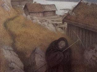 Maleri, landsby, svartkledd kvinne med ljå