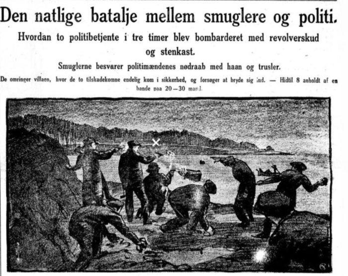 Avisside. Illustrasjon av menn som kaster steiner på stranden.