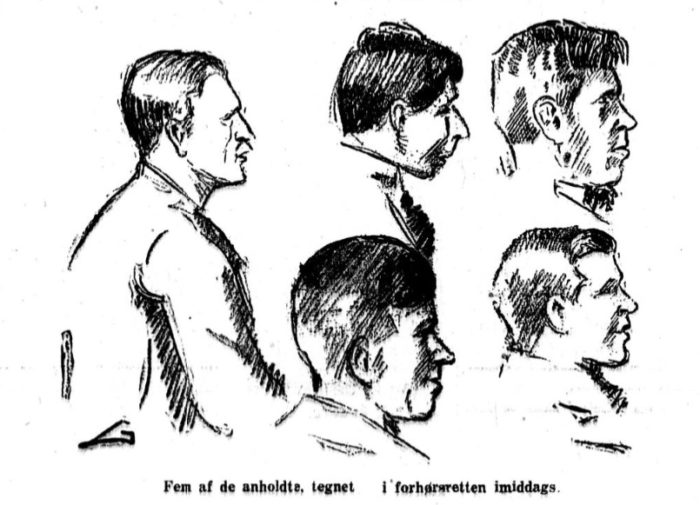 Avisforside. Fem hoder i profil.
