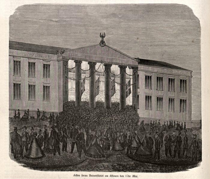 illustrasjon i svart-hvitt, folkemengde i finstasen på Universitetsplassen.