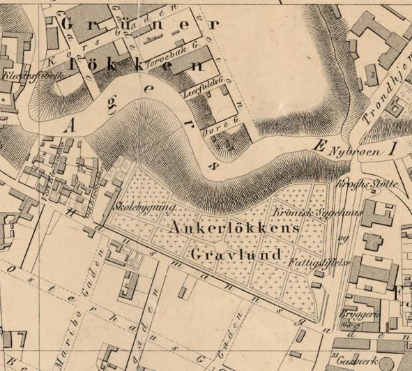 Kart som viser Ankerløkken kirkegård i Oslo