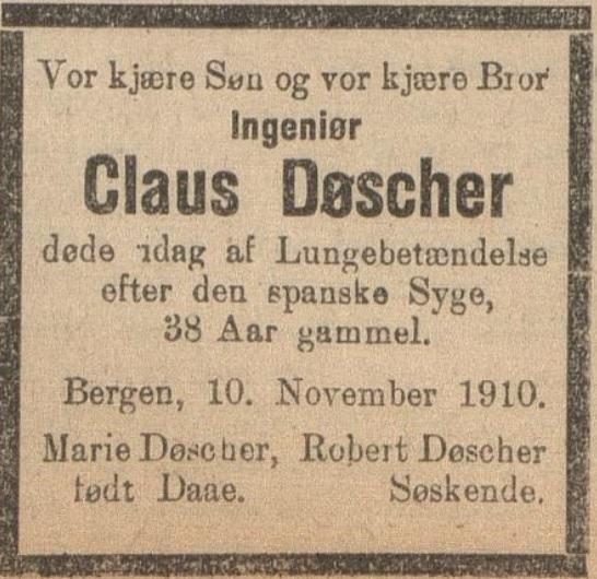 dødsannonse spanskesyken, mann 38, Claus Døscher