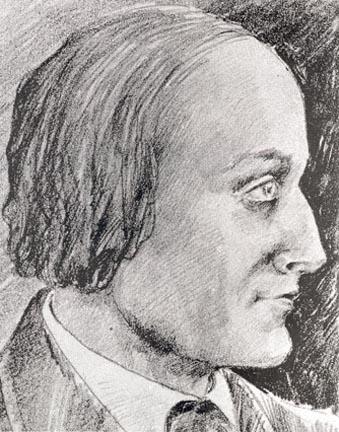 Tegnet portrett fra siden, mann