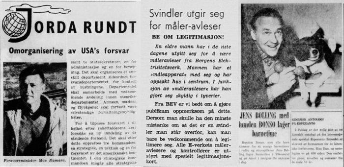 """Avisutklipp, kollasj. Overskrifter: """"Omorganisering av USAs forsvar"""", """"Svindler utgir seg for måler-avleser"""", """"Jens Bolling med hunden Bonso lager barnetime""""."""