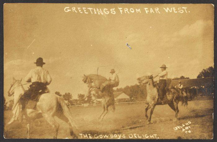 Tre menn på hest på prærien