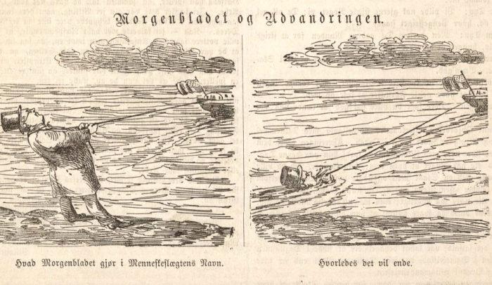 Illustrasjon, mann som forsøker å holde igjen et skip med amerikansk flagg