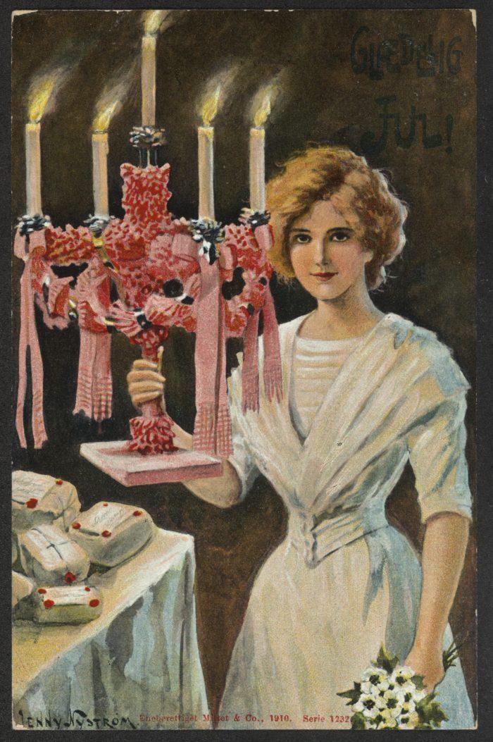 Kvinne med lysestake.