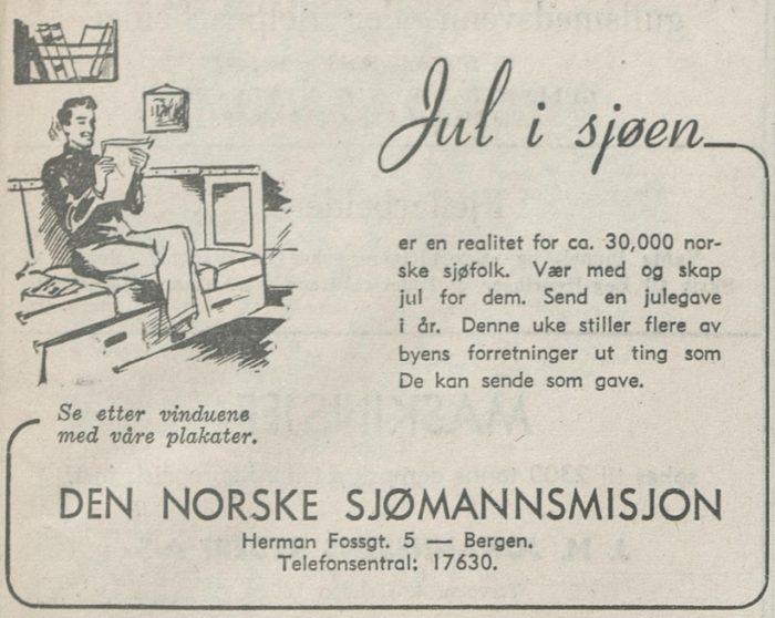 """Annonse i avis, illustrasjon av mann som leser avisen og overskrift """"Jul i sjøen""""."""