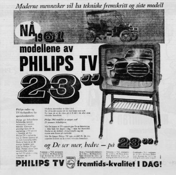 """Avisannonse. Illustrasjon av en TV og en bil, og bokstavene """"Nå 1961 modellene av Philips TV 23"""""""