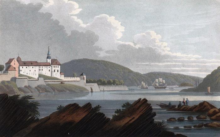 Tegning, kyst, slottsbygning på et nes