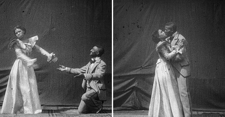 To bilder. Kvinne avviser mann. En kvinne og en mann i gammeldagse klær holder rundt hverandre og kysser.