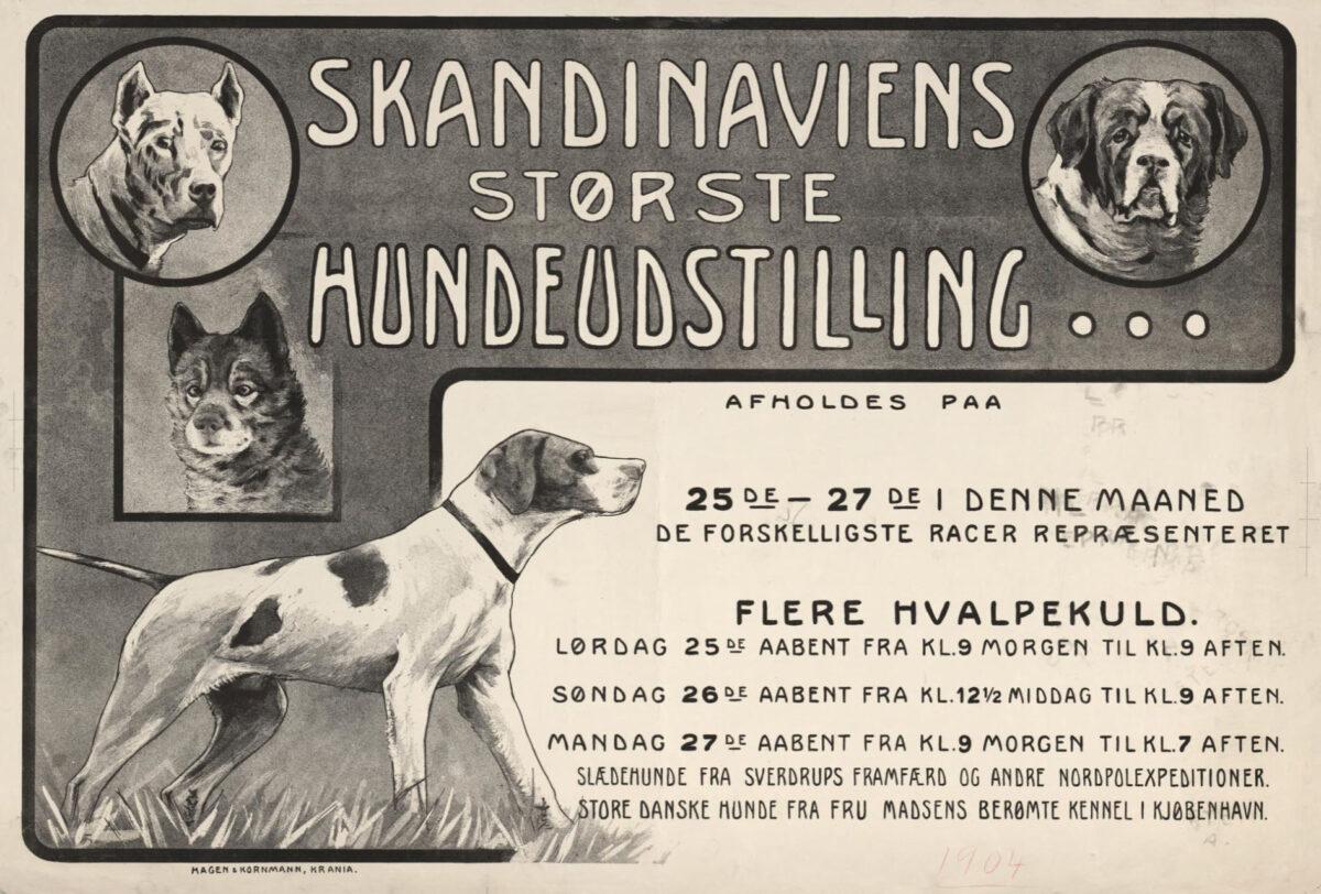 Svart/hvit peklameplakat for Skandinaviens største hundeutstilling med illustrasjoner av flere typer hunder