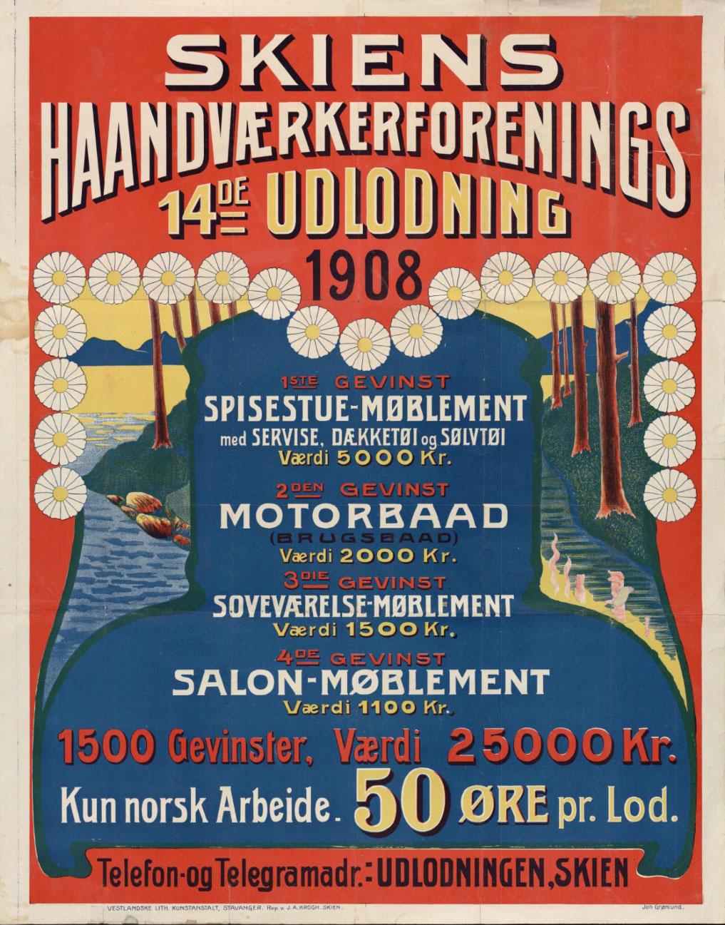 Fargerik plakat med mye tekst, om lotteriet til Skiens Handværkerforening i 1908