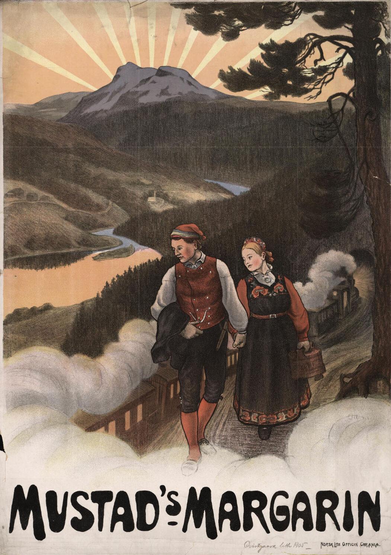 Mustad's Margarin: Reklameplakat med bunadskledd par i forgrunnen, dampdrevet tog og landskap med fjell, vassdrag og solnedgang i bakgrunnen