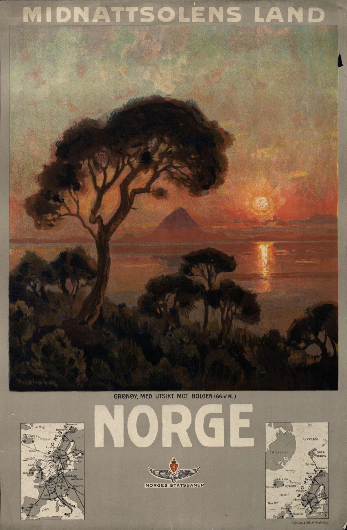 Illustrasjon av trær i forgrunnen, havlandskap med fjell og rød sol, tekst Midnattsolens land - Norge - to kart nederst som viser hvor Norge ligger i Europa og Norskehavet