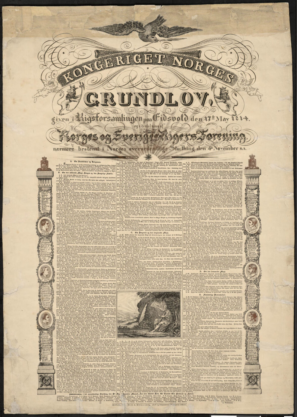 Grunnlovsplakat fra 1837 - tekst og mye ornamentikk