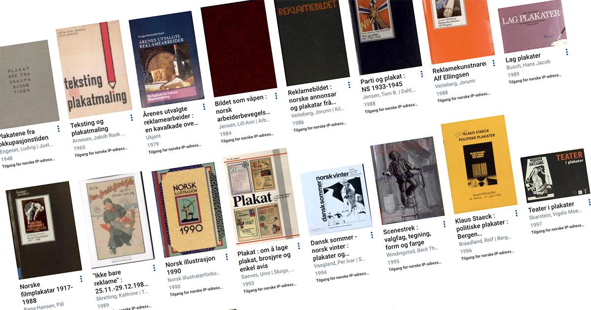 Skråstilt skjermbildeutsnitt fra Nettbiblioteket, mange miniatyrbilder av bokforsider av bøker som handler om plakater