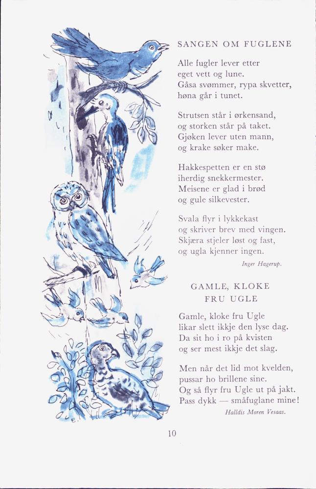 Bokside med dikt av Inger Hagerup og Halldis M. Vesaas